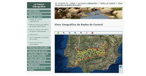 Visualizador Geográfico de Redes de Control de la Confederación Hidrográfica del Guadiana