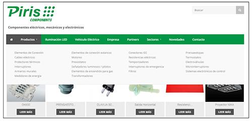 Captura de pantalla. Sistema de navegación facetado con distintas categorías de producto