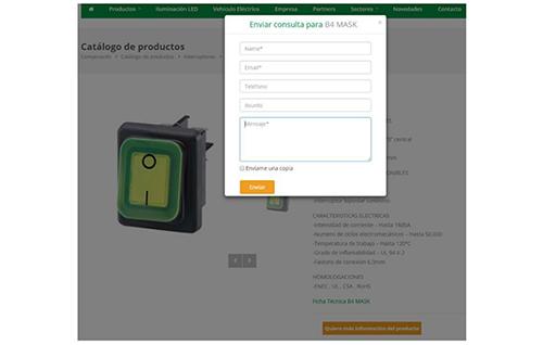 Captura de pantalla: Sistema de formularios automatizados e individuales para cada producto