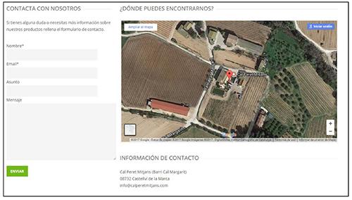 Captura de pantalla. Visualización de las plantaciones y la masía para la generación de confianza en el cliente
