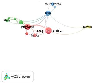 Redes de colaboración entre países en el tema de Ecosistemas Empresariales (datos del software VOSviewer)
