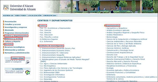 Ejemplo de localización de entidades en la UA
