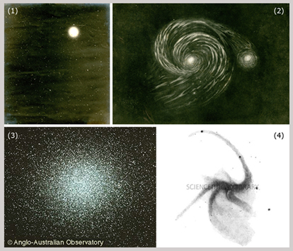 Ejemplos de los objetos celestes considerados en este artículo: (1) estrella, (2) nebulosa, (3) cúmulo y (4) galaxia. Fuente: DSpace (Repositorio del Instituto de Astronomía de la Universidad de Cambridge), Science Photo Library (imagen de la Royal Astronomical Society) y Observatorio Anglo-Australiano.