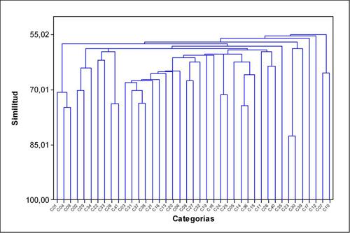 Dendograma para el estudio de conglomerados de categorías
