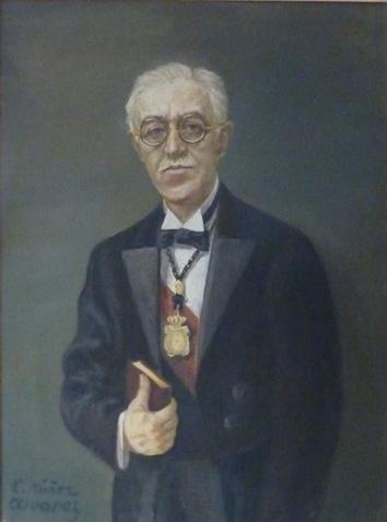 Retrato de José Casares como decano de la facultad de farmacia de Madrid