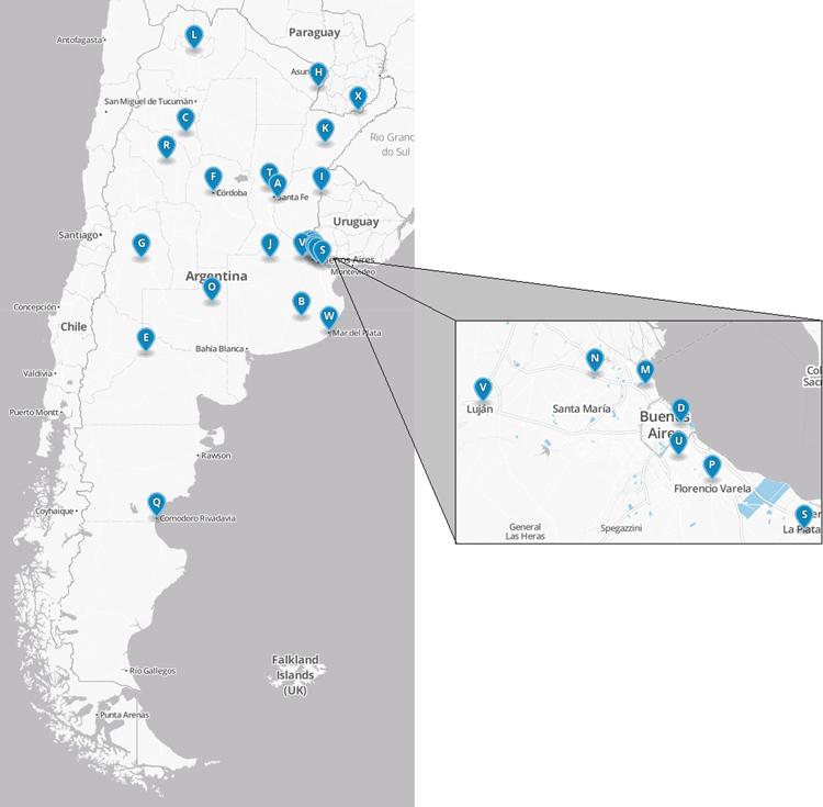 Distribución geográfica de las 24 universidades de la muestra