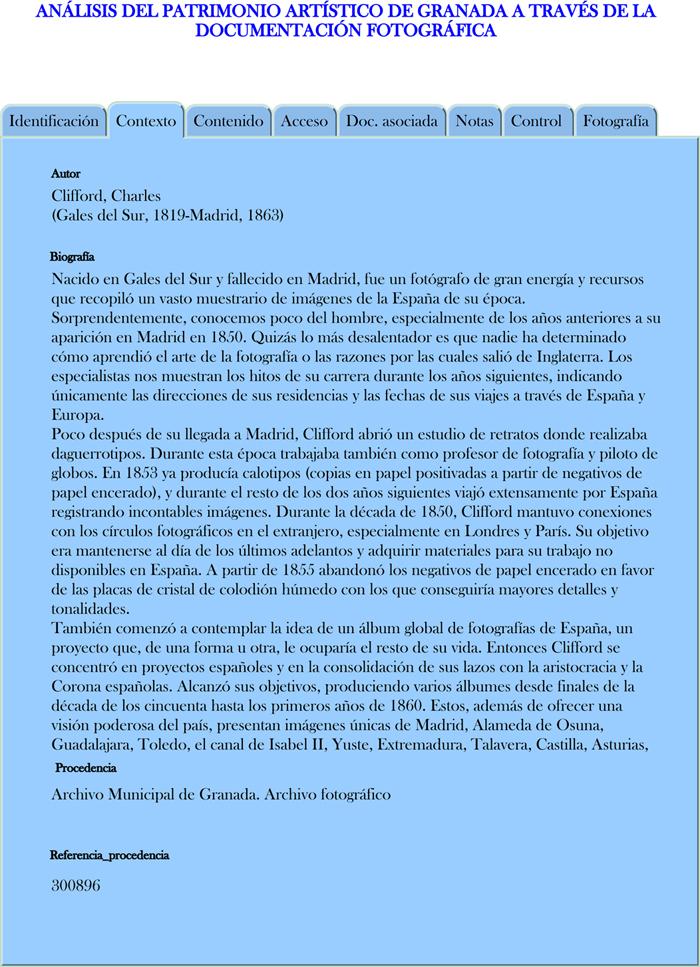 Modelo propuesto para la descripción de los registros fotográficos en Contexto
