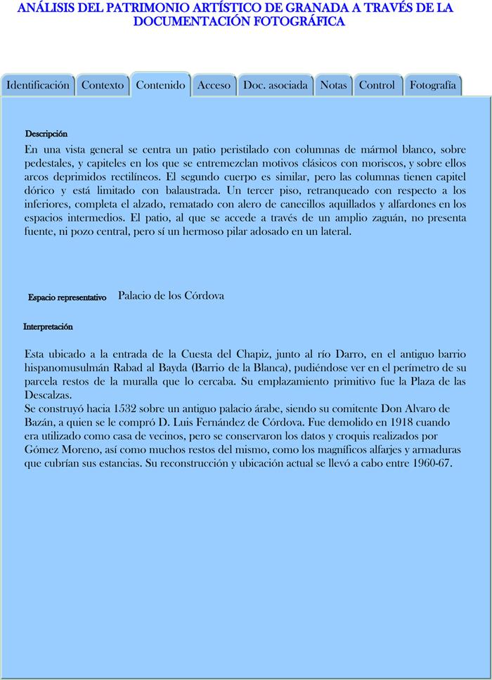 Modelo propuesto para la descripción de los registros fotográficos en Contenido (Palacio de los Córdova)