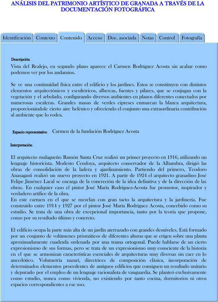 Modelo propuesto para la descripción de los registros fotográficos en Contenido (Carmen de la Fundación Rodríguez Acosta)