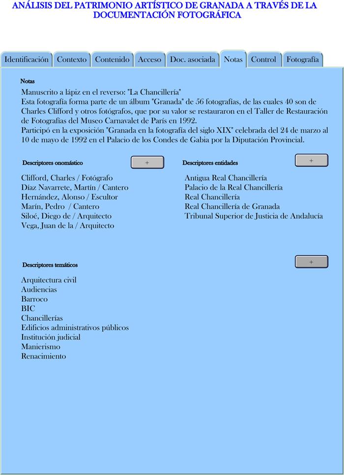 Modelo propuesto para la descripción de los registros fotográficos en Notas