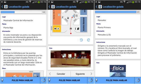 Capturas de pantalla de la funcionalidad de Guiado por la Biblioteca