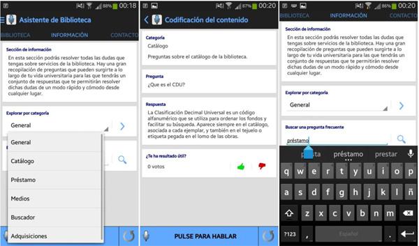 Capturas de pantalla de la funcionalidad de Preguntas Frecuentes