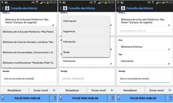Capturas de pantalla de la funcionalidad Contacto con la biblioteca