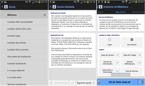 Capturas de pantalla de la funcionalidad Ayuda y Búsqueda Rápida