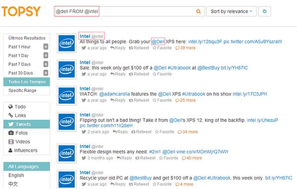 Consulta selectiva de menciones entre dos cuentas de Twitter a través del buscador Topsy