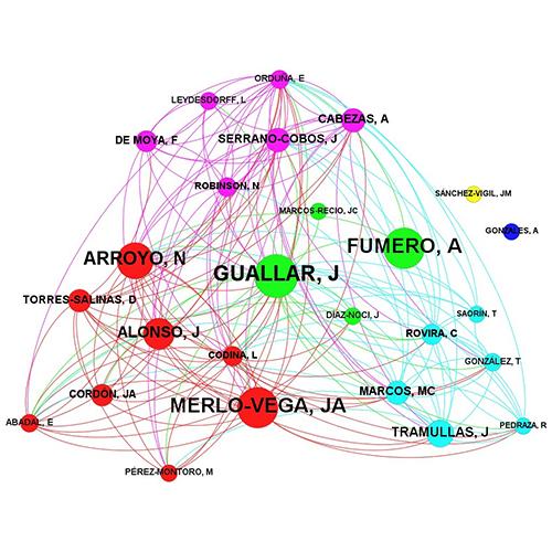 Relaciones entre los investigadores de la muestra