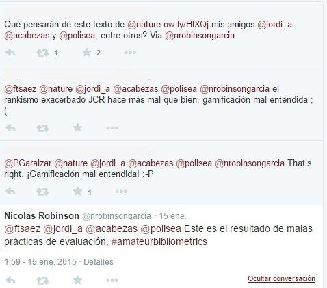 Ejemplo de debate sobre un tema científico en Twitter